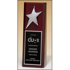 #1597 High gloss rosewood trophy with silver star